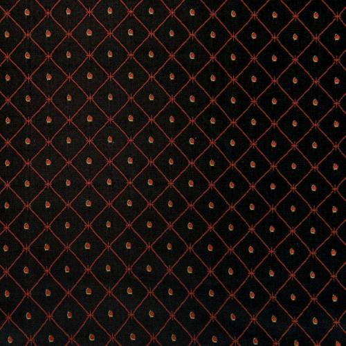 Satin asiatique noir motif losange rouge