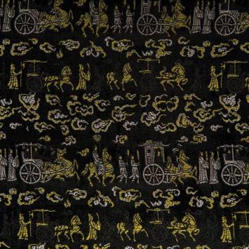Satin asiatique noir motif cérémonie blanche et jaune