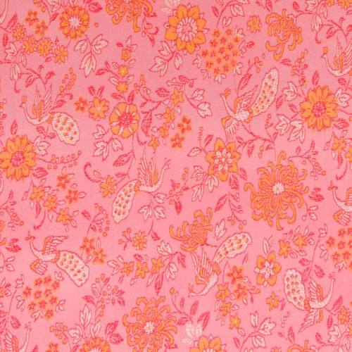 Satin asiatique rose motif fleur orange