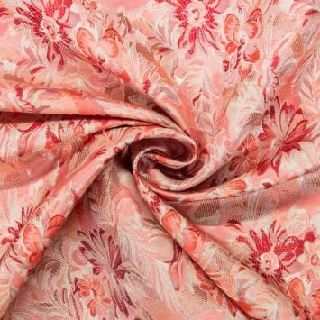 Satin asiatique rose motif floral
