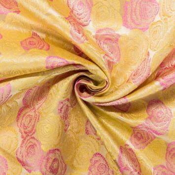 Satin asiatique jaune motif rose