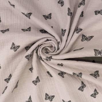 Double gaze grège imprimée papillon