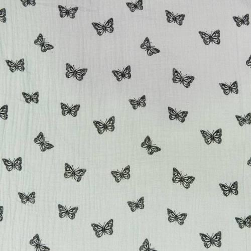 Double gaze vert d'eau imprimée papillon