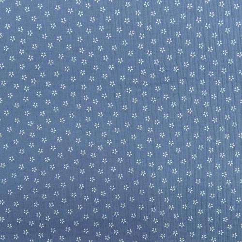 Double gaze bleue imprimée pétales