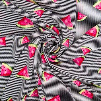 Tissu crêpe à rayures noires motif pastèque