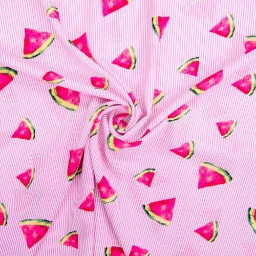 Tissu crêpe à rayures roses motif pastèque