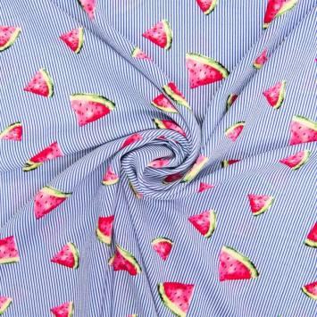 Tissu crêpe à rayures bleues motif pastèque