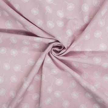 Voile de coton rose dragée motif pissenlit