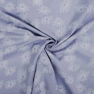 Voile de coton bleu ciel motif fleur