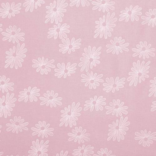 Voile de coton rose dragée motif fleur