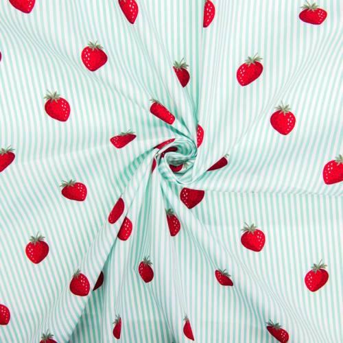 Popeline de coton rayée blanche et vert d'eau motif fraise