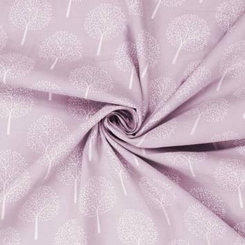 Voile de coton rose dragée motif arbre