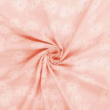 Voile de coton saumon motif fleur