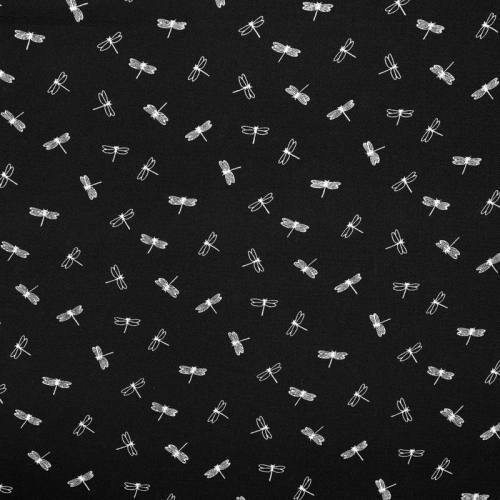 Tissu crêpe noir motif libellule