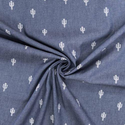Tissu jean chambray motif cactus blancs