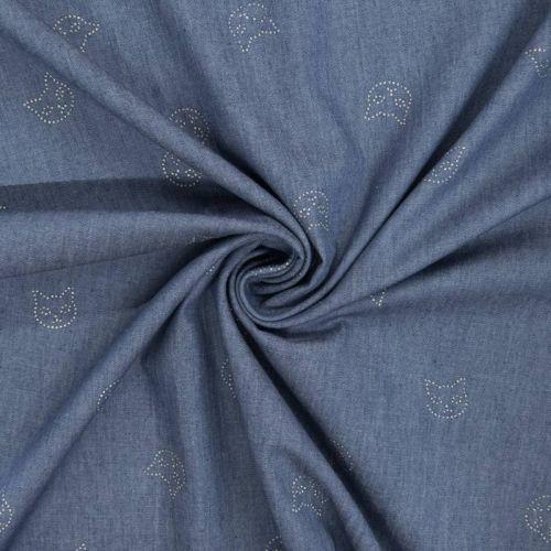 Tissu jean chambray motif têtes de chat argentées