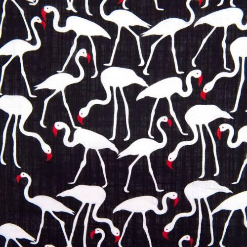 Tissu coton viscose noir motif flamants roses