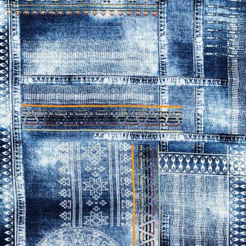 Tissu viscose motif jean ethnique