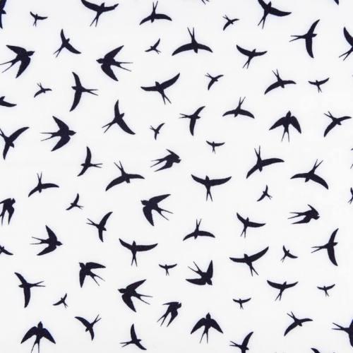 Tissu viscose blanc motif grand oiseau