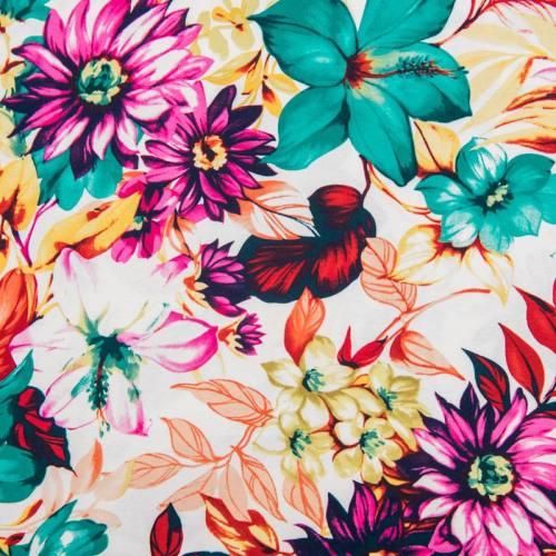 Jersey viscose blanc motif fleurs colorées
