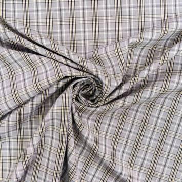Tissu carreaux Check gris et jaune