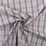 Tissu carreaux Check gris et rouge