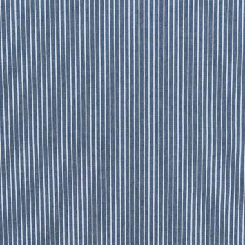 Tissu jean bleu foncé à moyennes rayures