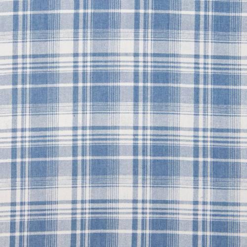 Tissu jean clair motif carreau écossais