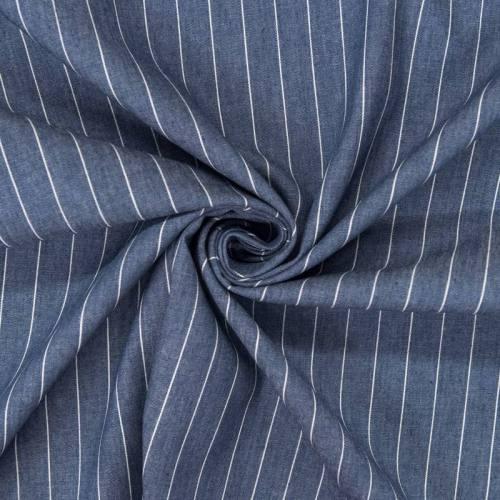 Tissu jean bleu à rayures espacées