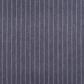 Tissu jean bleu foncé à rayures espacées