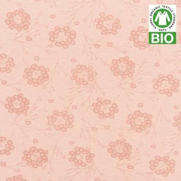 Jersey bio rose imprimé petites fleurs