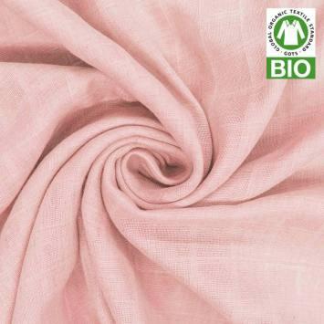 Coton bio pour lange bébé rose