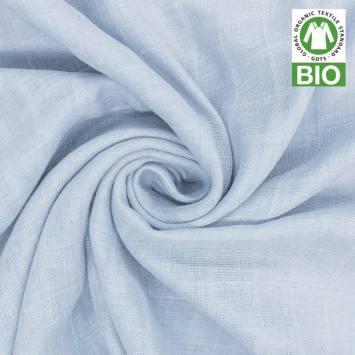 Coton bio pour lange bébé bleu