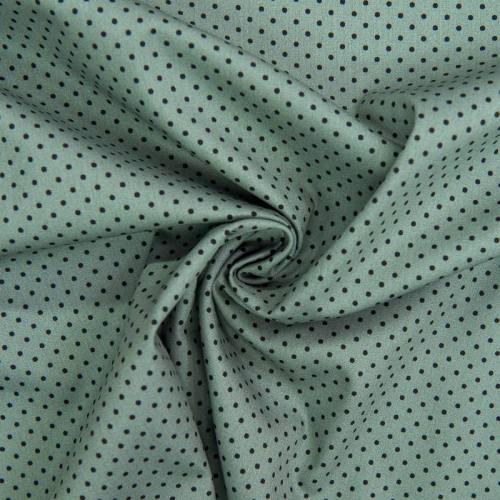 Popeline de coton verte imprimée pois