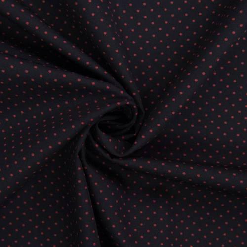 Popeline de coton noire imprimée pois rouge