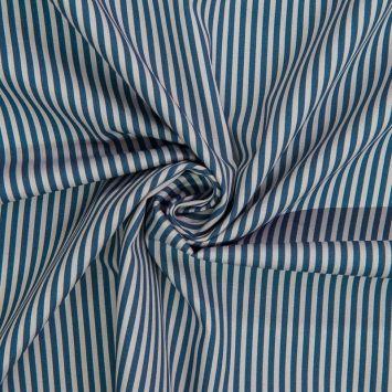 Popeline de coton imprimée rayures bleues