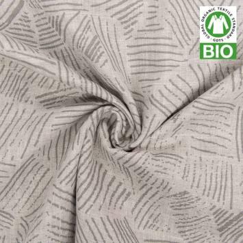 Coton bio pour lange bébé gris motif hachures