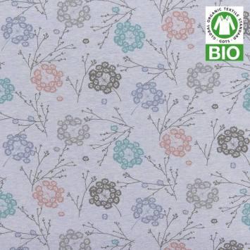 Jersey bio bleu imprimé floral