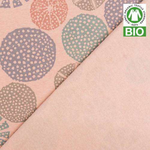 Jersey molleton bio rose imprimé oursin
