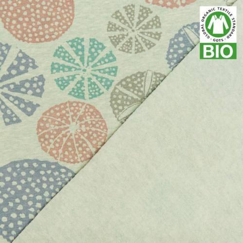 Jersey molleton bio vert imprimé oursin
