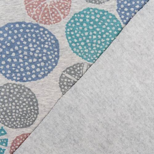 Jersey molleton bio gris imprimé oursin