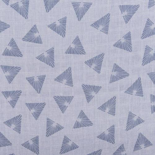 Coton bio pour lange bébé bleu motif triangles