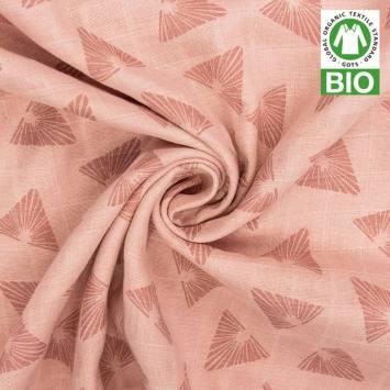 Coton bio pour lange bébé rose motif triangles