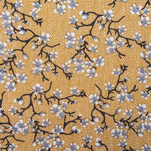 Tissu viscose ocre imprimé fleurs arabesques