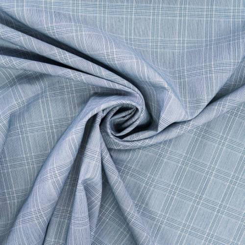Tissu carreaux tissage bleu