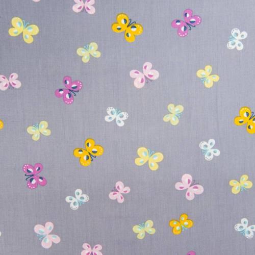 Popeline de coton grise motif papillons