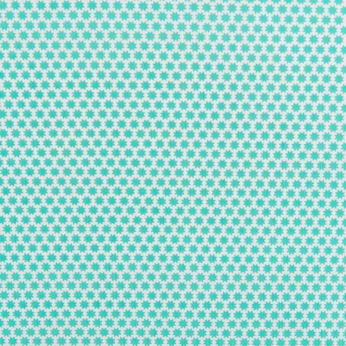 Popeline de coton motif octogramme vert