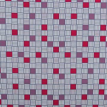 Popeline de coton blanche motif carré bleu