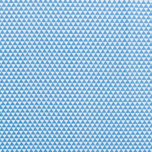 Popeline de coton blanche motif triangle bleu
