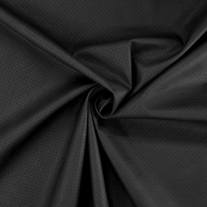 Simili cuir extensible perforé noir